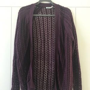 URBAN OUTFITTERS Dark Purple Knit Cardigan